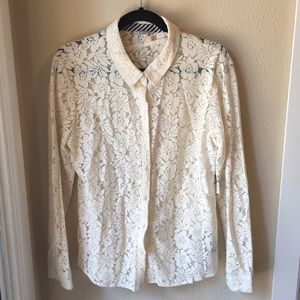 Volcom lace button down shirt SZ L